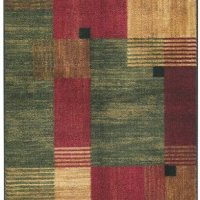 Mohawk Contemporary Rectangle Area Rug 5'x8' Green-Red Alliance Collection