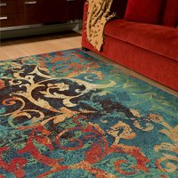 "Orian Rugs Geometric Watercolor Scroll Multi Area Rug (5'3"" x 7'6"")"