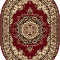 Universal Rugs 104700 Red 5x8 Oval Area Rug, 5-Feet 3-Inch by 7-Feet 3-Inch Oval