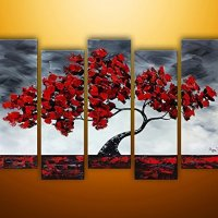 TJie Art Hand Painted Mordern Oil Paintings Red Tree Home Decoration Abstract Landscape Oil Painting Splice 5-piece/set on Canvas