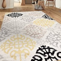 "Contemporary Geometric Design Cream 5'3"" x 7'3"" Indoor Area Rug"