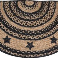 Rug - Braided Jute Farmhouse Star Half Circle Shaped Rug Black Tan - Primitive Country Rustic