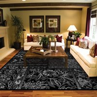 Black Silver Grey Modern 8x11 Area Rugs for Living Room Clearance Rug Black 8x10 Contemporary Rugs Rug For Dining Indoor Rugs