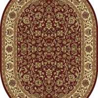 Universal Rugs Transitional Oriental 5 ft. 3 in. x 7 ft. 3 in. Oval Area Rug , Red