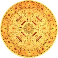 Safavieh Anatolia Collection AN543C Handmade Ivory and Gold Wool Round Area Rug, 4 feet in Diameter (4' Diameter)