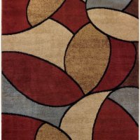 "Multicolor Oval Tiles Contemporary 5'3"" x 6'11"" Area Rug Maxy Home Pasha Collection PAS4579"