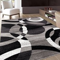 "Contemporary Modern Circles Gray Area Rug Abstract 7' 10"" X 10' 2"""