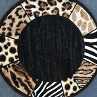 Animal Skin Leopard Border Print Round Area Rug Black Design 73 (6 feet 7 inch X 6 feet 7 inch Round)