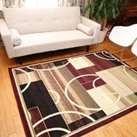 Generations Brand New Contemporary Modern Square and Circles Area Rug, 8' x 10', Red/Burgundy