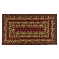 "IHF HOME DECOR Primitive Country Rectangle Braided Area Rug 20"" X 30"" New CINNAMON DESIGN Jute Fiber"