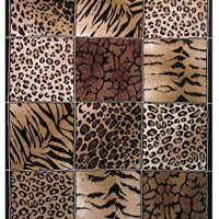 Rugs 4 Less Collection Modern Animals Skin Print Leopard Girraffe Tiger Skin Mix Area Rug R4L 12-032 (5'X7')