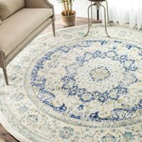 Traditional Persian Vintage Fancy Blue Area Rugs, 5 Feet Diameter (5' Round)