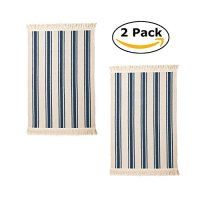 Flatwoven Cotton Area Rug with Color Stripes, Machine Washable for Kitchen Door Mat Runner (2, Blue Stripe)