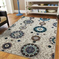 Luxury Contemporary Circles and Flowers Modern Area Rug 5x8 Rugs Turquoise Blue Gray Beige Black Ivory Floor Rugs for Living Room 5x7