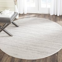 Safavieh Adirondack Collection ADR113B Ivory and Silver Modern Abstract Round Area Rug (4' Diameter)