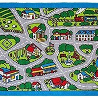 """Kids Rugs Street Map in Grey 8' X 11' Childrens Area Rug - Non Skid Gel Backing (7'10"""" X 11'3"""")"""