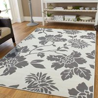 Contemporary Leaves Design Modern Area Rug 5x8 Leaf Pattern Grey and White Area Rugs 5x7 Carpets for Bedrooms Clearance Area Rugs, 5x8 Rug