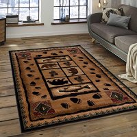 "Brown Bear with Fish Print Animal Outdoor Cabin Area Rug (7' 7"" x 10' 6"")"