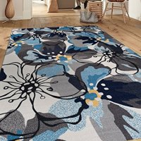 "Modern Large Floral Non-Slip (Non-Skid) Area Rug 8 x 10 (7' 10"" x 10') Gray-Blue"