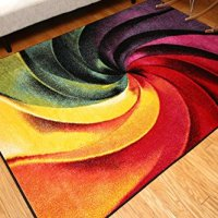 Feraghan/Radiance Collection Art Contemporary Collection Modern Swirl Wool Area Rug, 9' x 12', Yellow/Blue/Orange/Purple