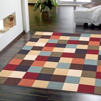 "Ottomanson Otto Home Boxes Contemporary Checkered Design Modern Area Rug with Non-SkidRubber Backing, 98"" L x 118"" W, Multi-Color"