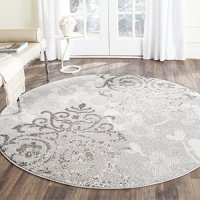 Safavieh Adirondack Collection ADR114B Silver and Ivory Contemporary Glam Damask Round Area Rug (6' Diameter)