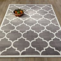 "Ottomanson Paterson Collection Grey Contemporary Moroccan Trellis Design Lattice Area Rug, 7'10"" X 9'10"""