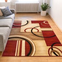 """Deco Rings Red Geometric Modern Casual Area Rug 5x7 ( 5'3"""" x 7'3"""" ) Easy to Clean Stain / Fade Resistant Shed Free Abstract Contemporary Color Block Boxes Lines Soft Living Dining Room Rug"""