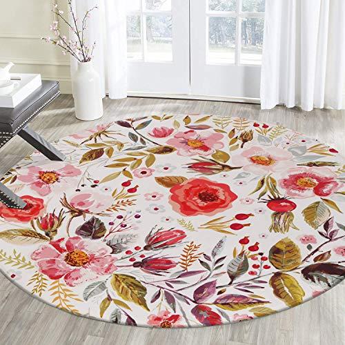 Cactus Flower Feather Round Carpet Area Rug Non-skid Bedroom Room Floor Yoga Mat