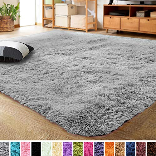 Noahas Abstract Shaggy Rug for Bedroom Ultra Soft Fluffy Carpets for Kids Nursery Teens Room Girls Boys Thick Accent Rugs Home Bedrooms Floor Decorative Light Grey 4 ft x 6 ft