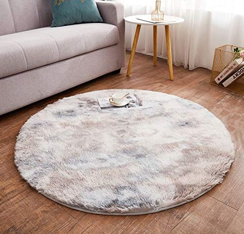 Grey ABREEZE Butterfly Nursery Rug Kids Play Mat 3ft Round Area Rugs Soft Plush Game Baby Girls Boys Crawling Mat Non-Slip Tufted Throw Carpet for Nursery Decor Bedroom Best Shower Gift