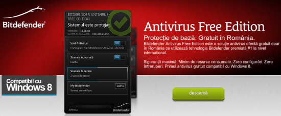 Bitdefender Antivirus Free Edition: antivirus gratuit pentru Windows 8