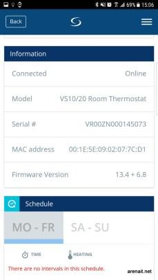 Pagina termostat si programare
