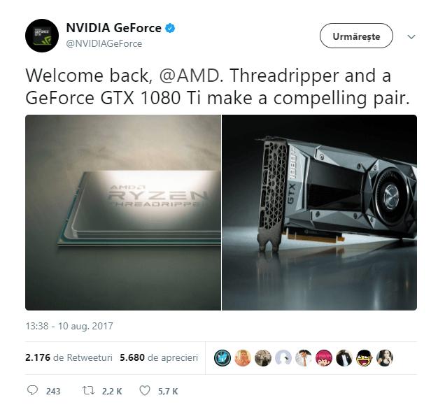 Nvidia felicita AMD pentru Threadripper