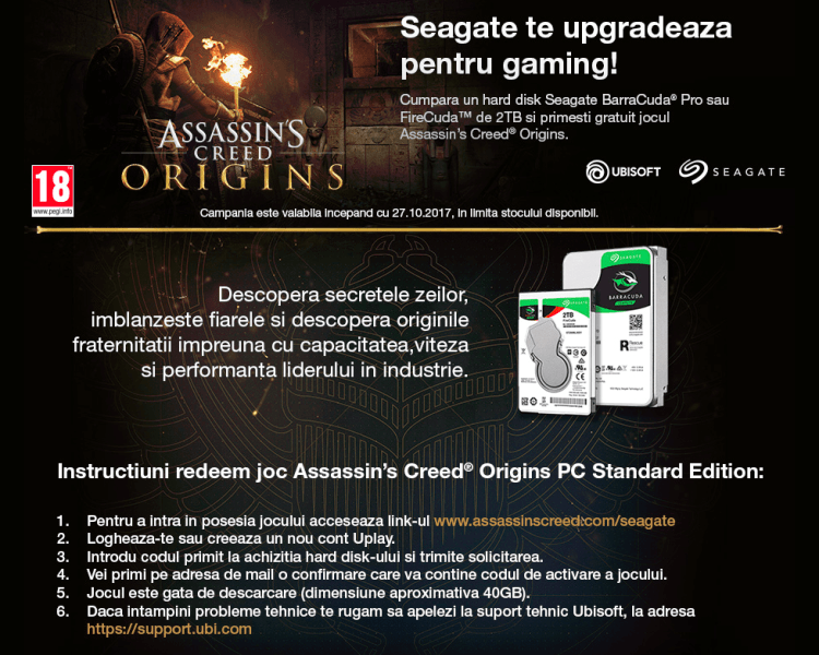 Oferta: cumperi un HDD Seagate si primesti Assassin's Creed Origins