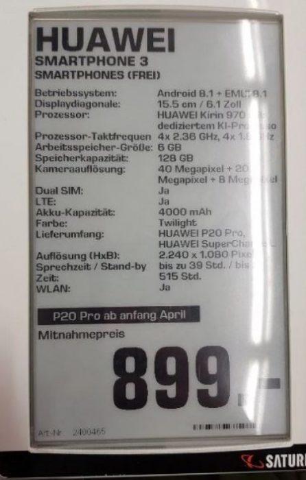 Specificațiile complete pentru Huawei P20 și P20 Pro scurse pe internet prin intermediul unui retailer german