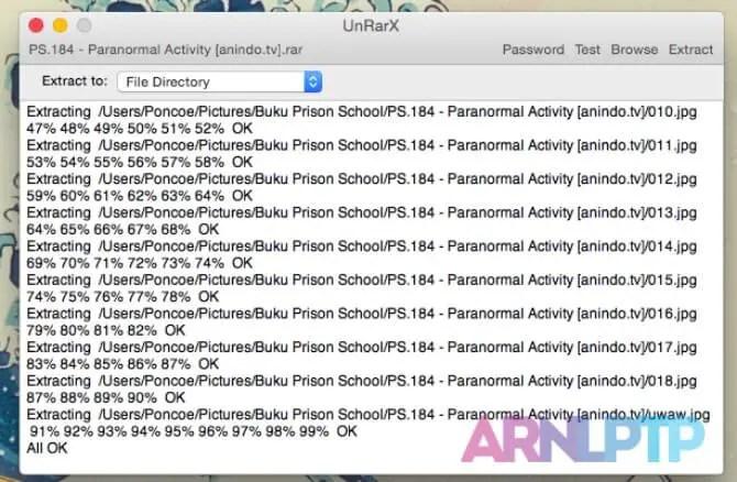 Aplikasi UnrarX pada Mac