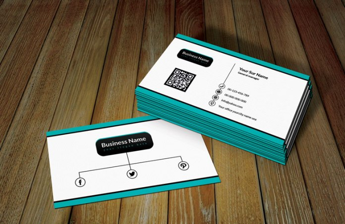White Ratro Business Card Template with QR Code