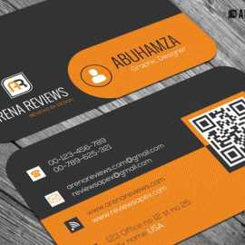 Free Orange and Black Pattern Business Card Template