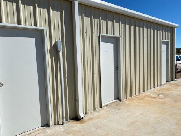 Office door and restrooms