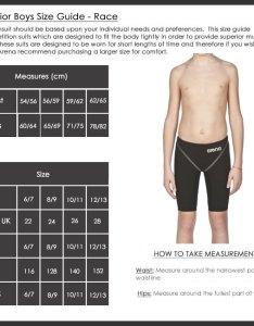 Arena boys race jammers size chart junior girls training swimwear also sizing charts rh arenaswimwearstore