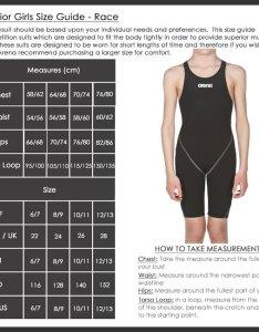 Arena girls race swimwear size chart also sizing charts rh arenaswimwearstore