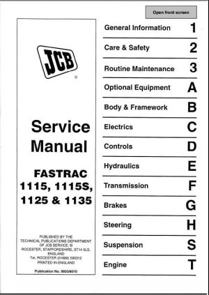JCB 1115,1115S,1125,1135 Fastrac Service Repair Manual | A