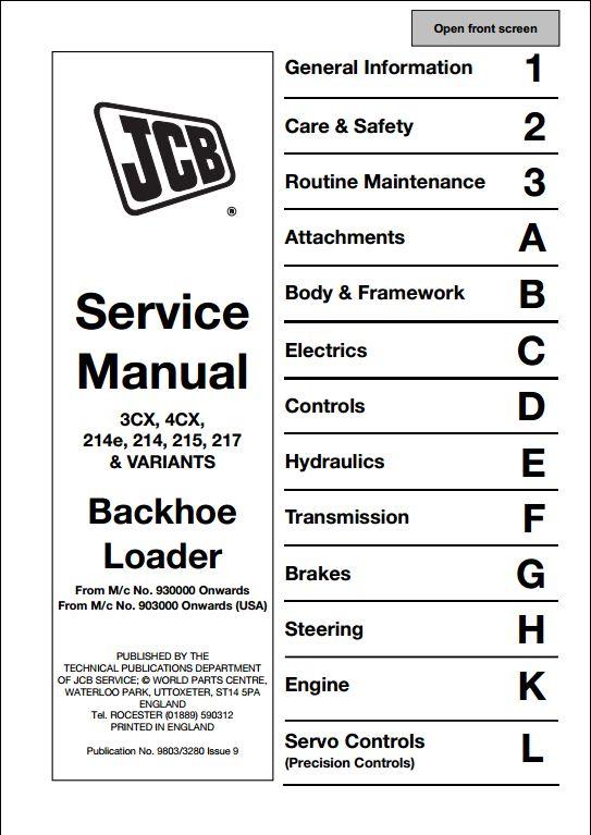 Jcb Wiring Schematic Jcb 3cx 4cx 214e 214 215 217 Amp Variants Backhoe Loader
