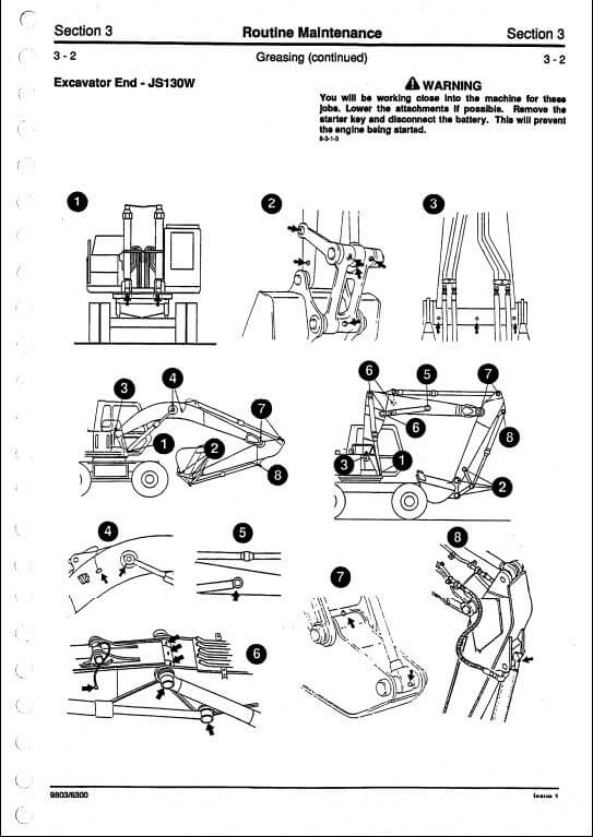 JCB JS130W,JS150W Tracked Excavators Service Repair Manual