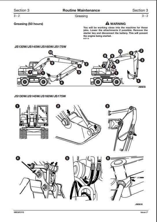 JCB JS130W,JS145W,JS160W,JS175W Wheeled Excavators Service