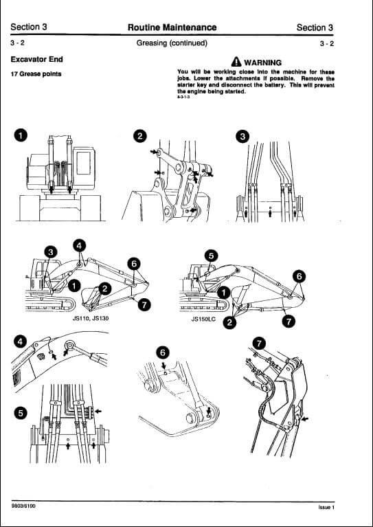 JCB JS110,JS130,JS150LC Tracked Excavators Service Repair