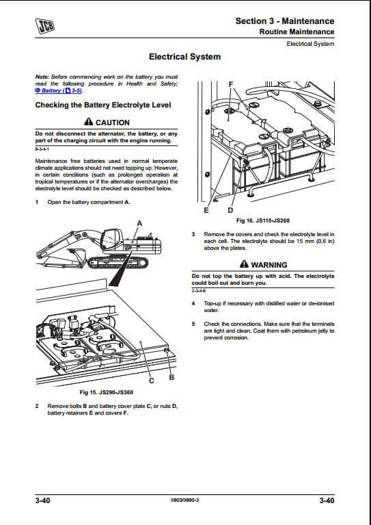 JCB JS360 Tier III Auto Tracked Excavators Service Repair