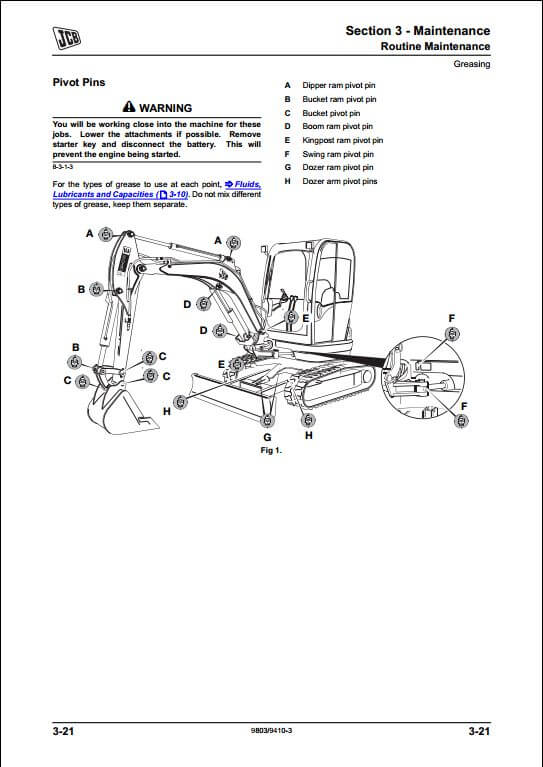 JCB 8025Z,8030Z,8035Z Mini Excavator Service Repair Manual