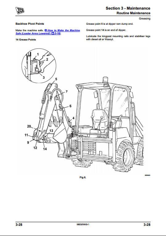 JCB 1CX,208S Backhoe Loader Service Repair Manual(PN:9803